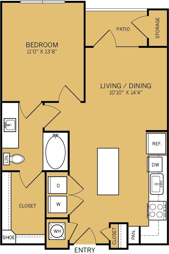 Floor Plan  1 Bedroom 1 Bathroom B Floor plan at The Kelley, Ft. Worth, TX