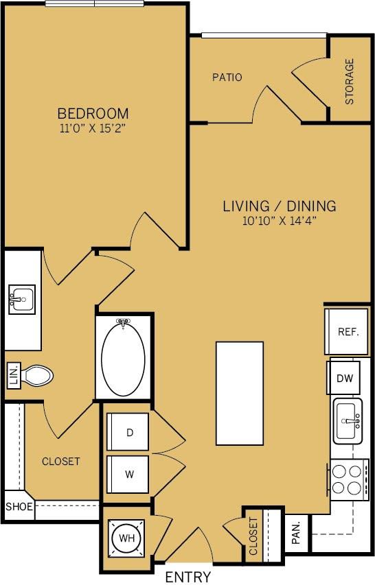 Floor Plan  1 Bedroom 1 Bathroom C Floor plan at The Kelley, Ft. Worth, 76102