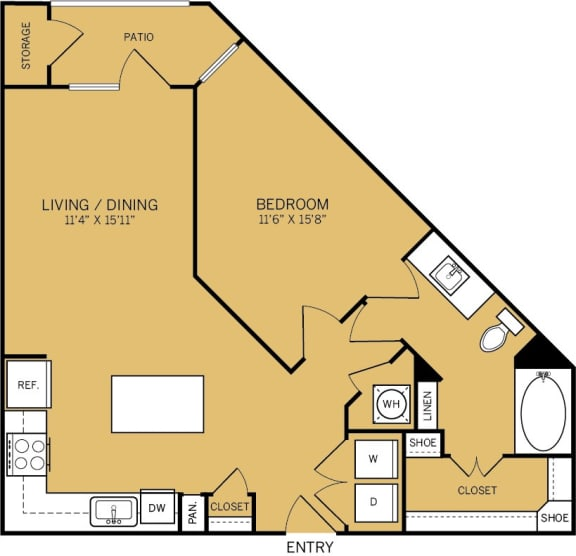 Floor Plan  1 Bedroom 1 Bathroom D Floor plan at The Kelley, Ft. Worth, Texas