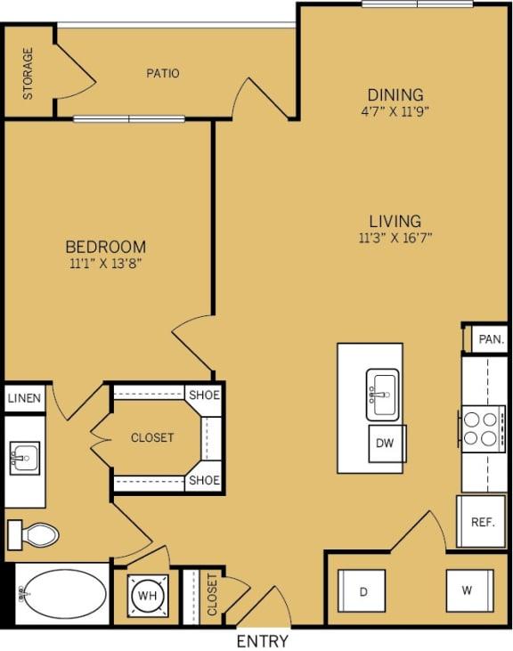 Floor Plan  1 Bedroom 1 Bathroom E Floor plan at The Kelley, Ft. Worth