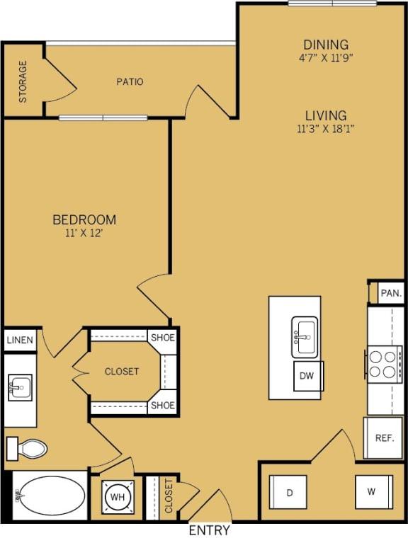 Floor Plan  1 Bedroom 1 Bathroom F Floor plan at The Kelley, Texas