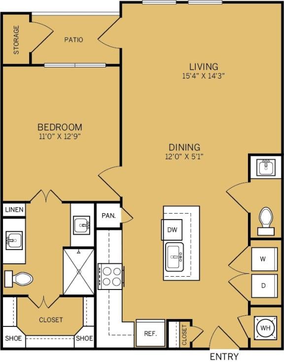 Floor Plan  1 Bedroom 1 Bathroom G Floor plan at The Kelley, Texas, 76102