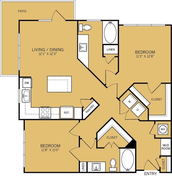 Floor Plan  2 Bedroom 2 Bathroom Floor plan at The Kelley, Ft. Worth, TX, 76102
