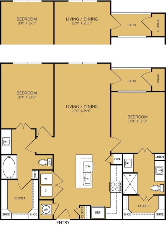 Floor Plan  2 Bedroom 2 Bathroom B Floor plan at The Kelley, Ft. Worth, 76102