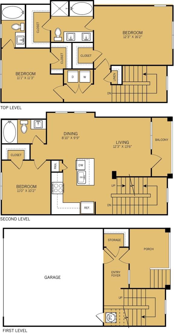 Floor Plan  3 Bedroom 3 Bathroom Floor plan at The Kelley, Texas