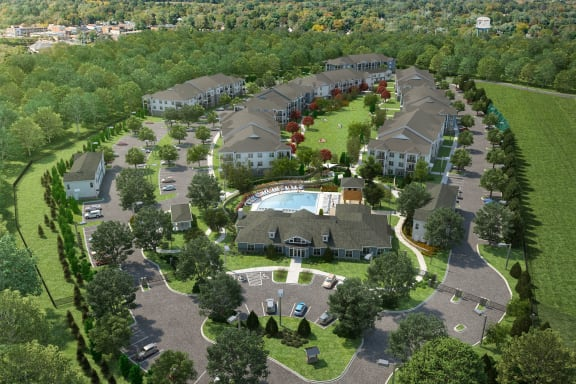 Ariel View of entire community at The Crest Apartments at Flowery Branch, Flowery Branch, GA, 30542