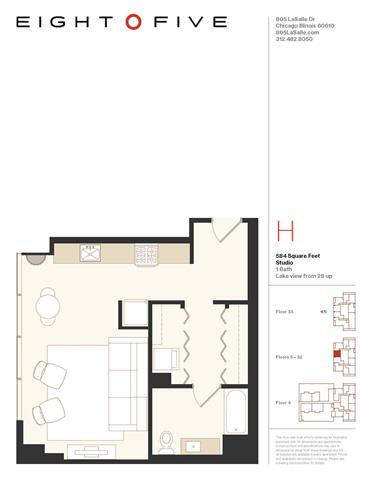 Floor Plan  Studio2 Floor Plan at Eight O Five, Chicago, IL