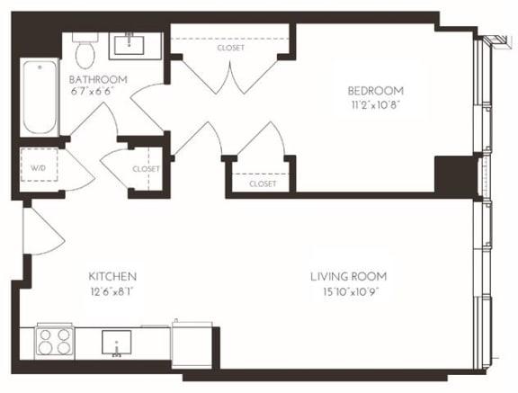 Floor Plan  VI1A5 Floor Plan at Via Seaport Residences, Boston, MA, 02210