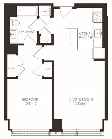 Floor Plan  VI1A6 Floor Plan at Via Seaport Residences, Boston, MA
