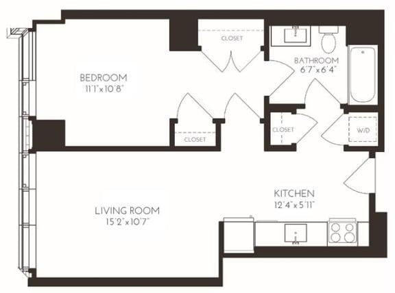 Floor Plan  VI1A7 Floor Plan at Via Seaport Residences, Boston, Massachusetts