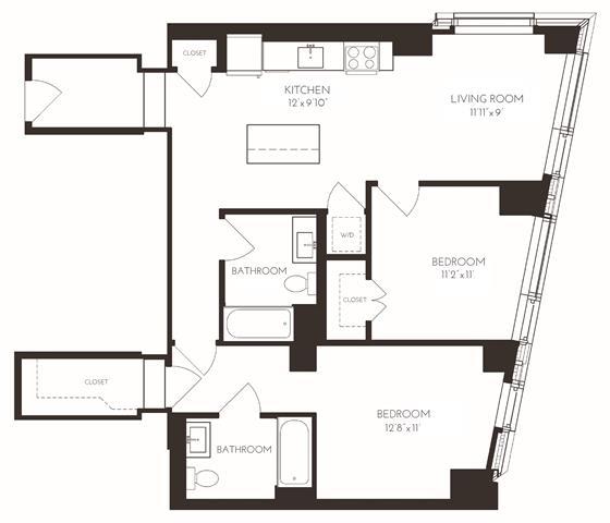 Floor Plan  VI2F1 Floor Plan at Via Seaport Residences, Boston, Massachusetts