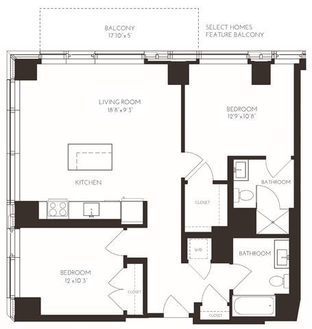 Floor Plan  VI2H1 Floor Plan at Via Seaport Residences, Boston, MA, 02210