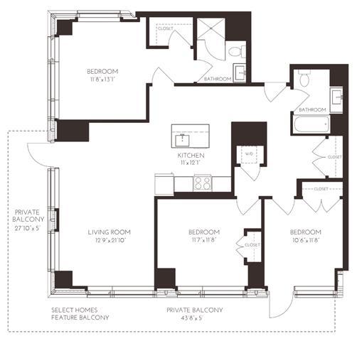 Floor Plan  VI3C1 Floor Plan at Via Seaport Residences, Massachusetts