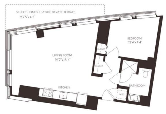 Floor Plan  VII1A2 Floor Plan at Via Seaport Residences, Boston, MA