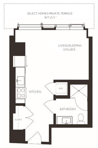 Floor Plan  VIISH1 Floor Plan at Via Seaport Residences, Boston, MA