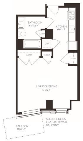 Floor Plan  VISB1 Floor Plan at Via Seaport Residences, Boston, Massachusetts