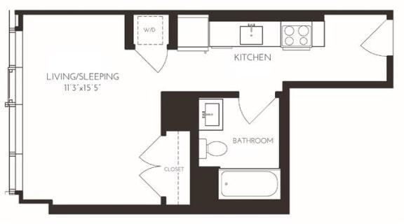 Floor Plan  VISE1 Floor Plan at Via Seaport Residences, Massachusetts