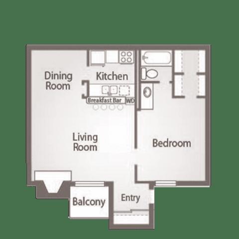 Floor Plan  1 Bed 1 Bath Floor Plan at Abbey Glenn Apartments, Waco, TX, 76706