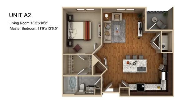 Floor Plan  1 Bedroom 1 Bathroom Floor Plan at Liberty Mill, Maryland, 20874