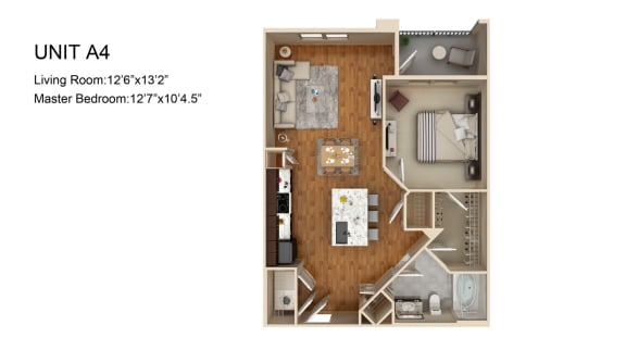 Floor Plan  A4 1 Bed 1 Bath Floor Plan at Liberty Mill, Germantown, MD