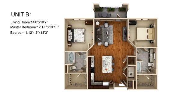 Floor Plan  2 Bed 2 Bath Floor Plan at Liberty Mill, Germantown, 20874