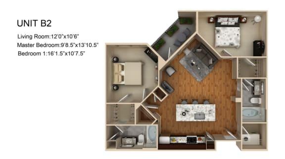 Floor Plan  2 Bedroom 2 Bathroom Floor Plan at Liberty Mill, Germantown, Maryland