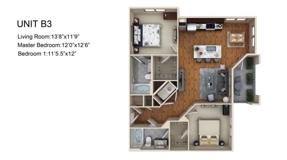 Floor Plan  2 bedroom 2 bath Floor Plan at Liberty Mill, Germantown