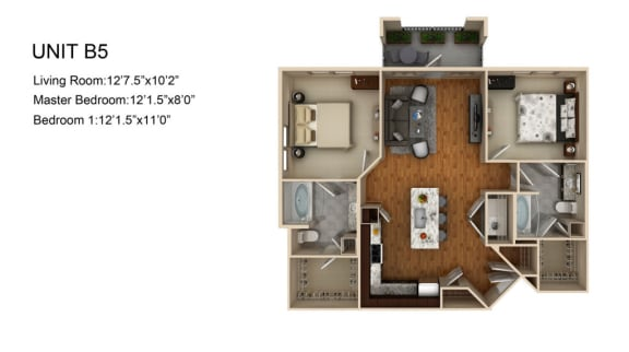 Floor Plan  B5 2 Bed 2 Bath Floor Plan at Liberty Mill, Maryland, 20874