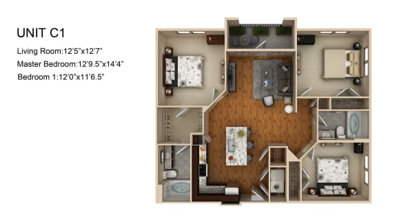 Floor Plan  3 Bed 2 Bath Floor Plan at Liberty Mill, Germantown, MD, 20874