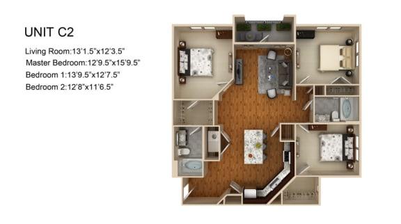 Floor Plan  3 Bedroom and 2 Bath Floor Plan at Liberty Mill, Germantown, MD