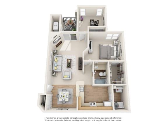 Floor Plan  Magnolia 2 Bedroom 1 Bath Floor Plan at Owings Park Apartments, Owings Mills, 21117