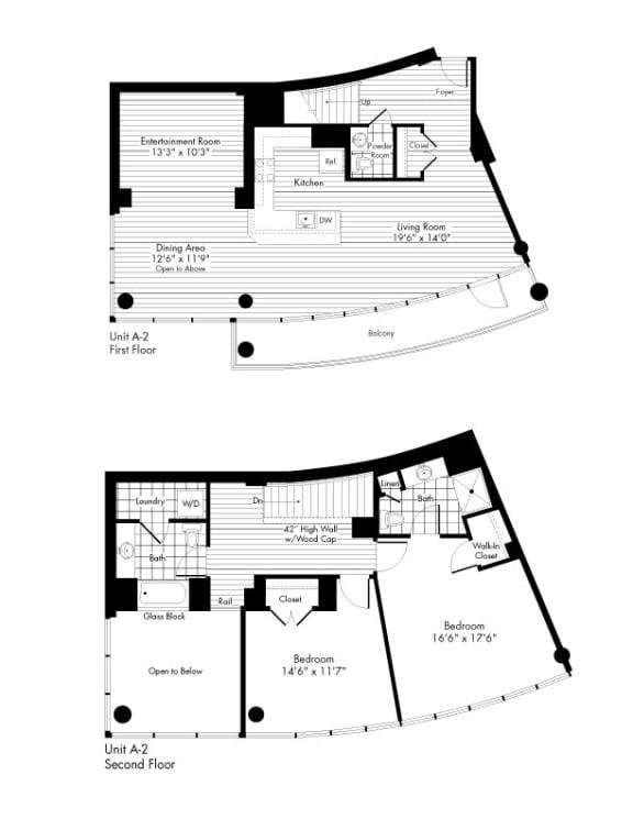 Floor Plan  A-2 2 Bed 2.5 Bathroom Floor Plan at The Zenith, Baltimore, MD, 21201