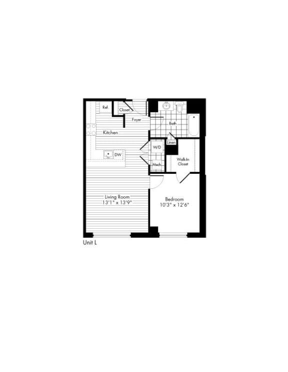Floor Plan  1 Bed 1 Bath Floor Plan at The Zenith, Baltimore, MD, 21201