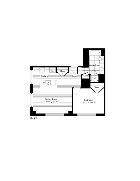 Floor Plan  1 Bedroom 1 Bathroom Floor Plan at The Zenith, Baltimore, MD