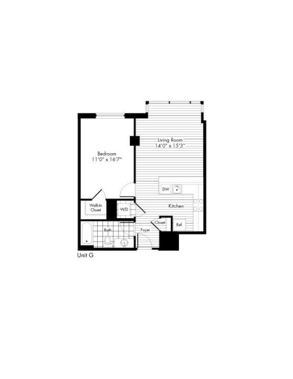 Floor Plan  1 Bedroom 1 Bath Floor Plan at The Zenith, Baltimore, 21201