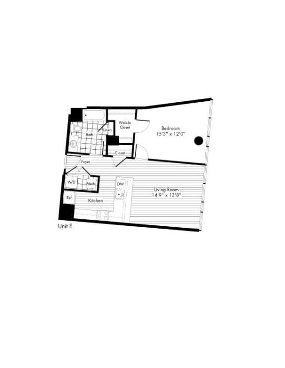 Floor Plan  One Bed One Bath Floor Plan at The Zenith, Maryland