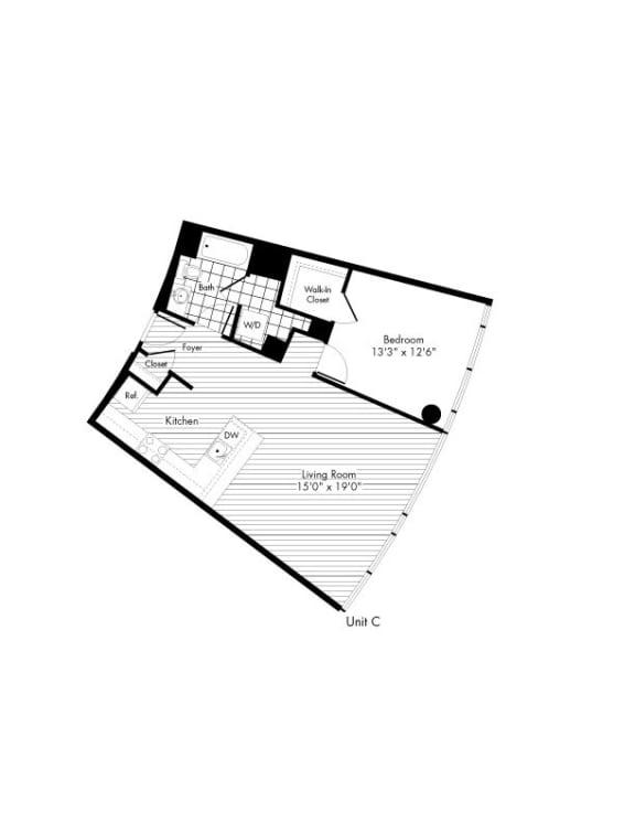 Floor Plan  C 1 Bed 1 Bath Floor Plan at The Zenith, Maryland, 21201