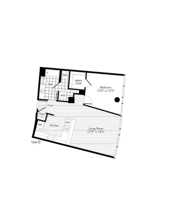 Floor Plan  D 1 Bedroom 1 Bathroom Floor Plan at The Zenith, Baltimore, MD, 21201
