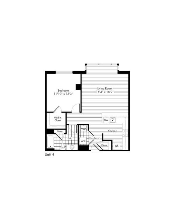 Floor Plan  H 1 Bed 1 Bath Floor Plan at The Zenith, Baltimore, MD