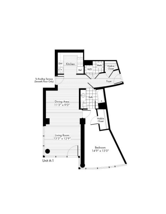 Floor Plan  A-1 1 Bed 1 Bath Floor Plan at The Zenith, Baltimore, 21201
