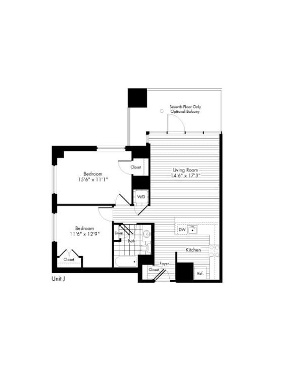 Floor Plan  2 Bedroom 1 Bath Floor Plan at The Zenith, Baltimore, Maryland