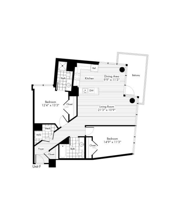 Floor Plan  2 bedroom 2 bath Floor Plan at The Zenith, Baltimore