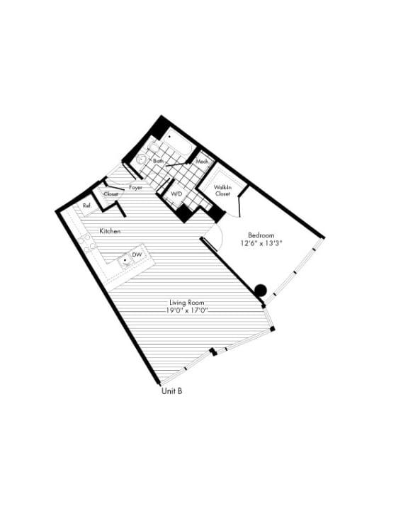 Floor Plan  B 1 Bed 1 Bath Floor Plan at The Zenith, Baltimore, MD, 21201