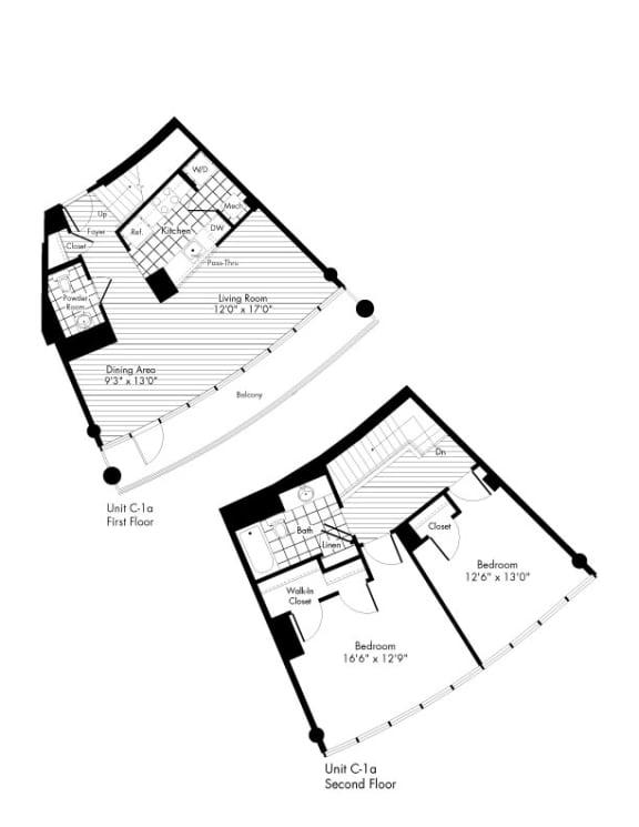 Floor Plan  2 Bed 1.5 Bath Floor Plan at The Zenith, Baltimore, MD