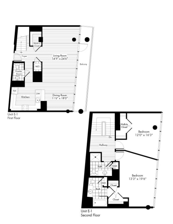 Floor Plan  2 Bed 2.5 Bathroom Floor Plan at The Zenith, Maryland, 21201
