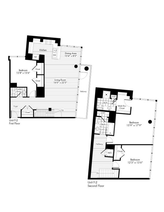 Floor Plan  3 Bedroom and 2 Bath Floor Plan at The Zenith, Baltimore, MD