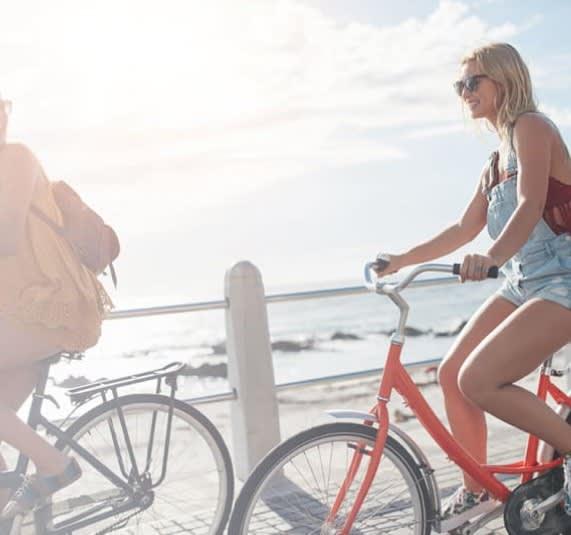 Riding bikes near the beach