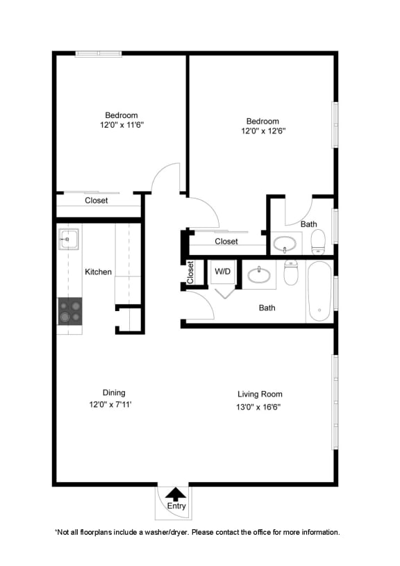 Floor Plan  2 Bedroom Apartment at Dannybrook Apartments
