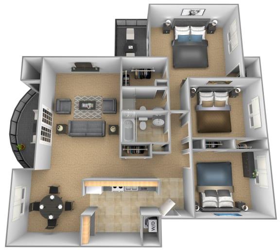 Floor Plan  3 bedroom 2 bathroom Versales apartment floor plan at The Brittany in Pikesville