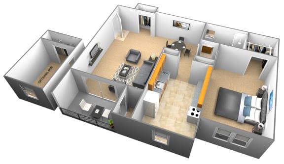 Floor Plan  1 bedroom 1 bathroom with den 3D floor plan at Woodridge Apartments in Randallstown, Maryland